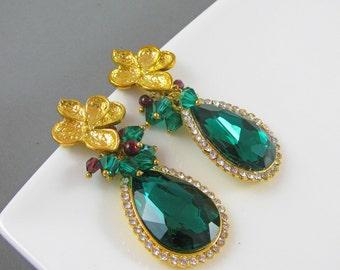 Emerald Green Earrings, Gold Emerald Green Earrings, Dark Green Earrings, Post Earrings