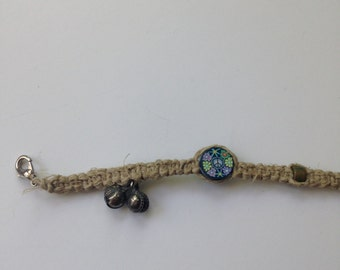 Bell and Peace Sign Floral Fimo Bead Hemp Anklet