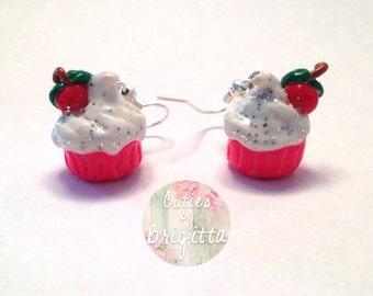 Handmade Polymer Clay Cupcake Earring