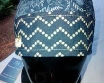 GROOVY INDIGO BANDANA.Surgical Scrub Hat.Under helmet Cap. Motorcycle Cap. Welding Cap. Chemo Bandana.Gypsy.
