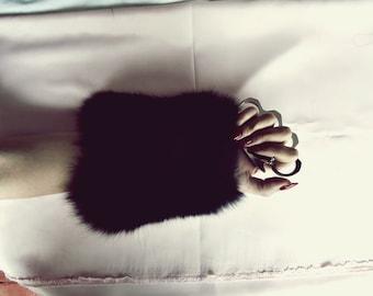 black fox fur wrist cuff