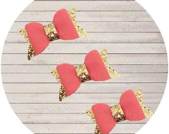 Coral&Gold Mini Bows