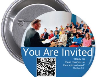JW.ORG custom back pin button - You are Invited . With QR code 2.25""