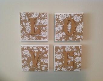Burlap canvas blocks