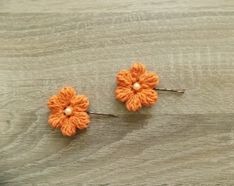 Handmade Flower Hair clips, pearl/diamond Hair Clips for girls,perfect girls gift,2* handmade Crochet Flower,Brick, red, orange flower clip
