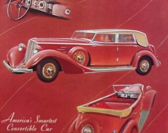 Vintage 1934 Auburn Car Ad Deco Automobile Clasic Car