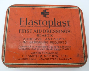 Vintage Mid Century Advertising Tin Box Elastoplast First Aid Dressings Retro Tin