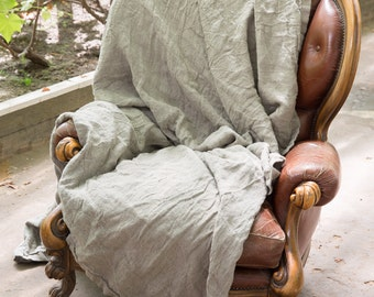Natural Rustic Linen Bed Cover / Throw