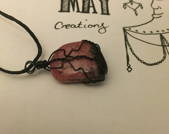 Gorgeous deep pink and black Rhodonite necklace
