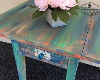 Green Chalk Paint Drop Leaf Side Table