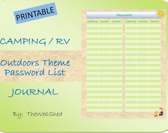 Passwords Tracker - Outdoor/Camping Theme Printable