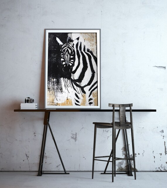 Black And White Nursery Wall Decor : Zebra print safari nursery art black and white wall decor