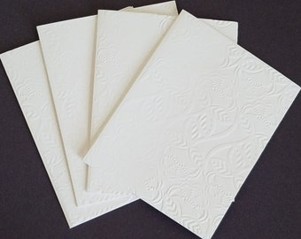 Embossed Linen Blank Note Cards Set of 5