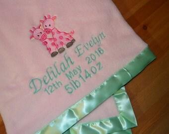 Personalised Baby Blanket / Custom Baby Blanket / Pink Baby Blanket