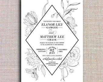 Black & White Flowers Wedding Invitation Printable