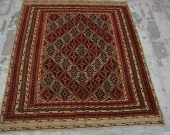 Gorgeous Beljik Mushwani Afghan Handmade Beljik Rug Tribal Rug Decor Rug 4'6 x 4 Feet