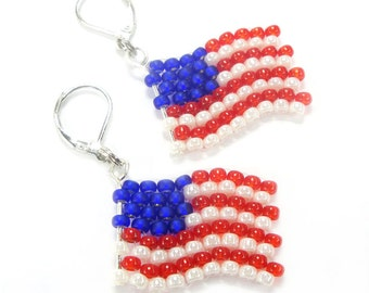Earrings - flag of United States of America from Miyuki - glass beads - EM - Fanartikel (BS-1123)