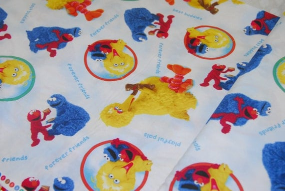 Sesame street fabric cookie monster big bird elmo by for Baby monster fabric