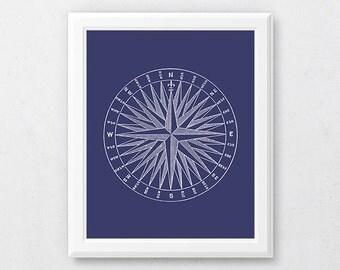 Navy Art Print, Printable Bathroom Art, Compass Print, Blue Wall Art, Nautical Decor, Coastal Home Decor, Vintage Compass Art, Navy Poster
