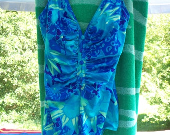 Vintage 70's one piece blue and green floral swimsuit, Brand Longitude, Size 14
