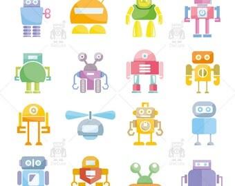 Friendly Robot Clipart, Kids Robots Clipart, Vector Robots, Funny Robots ,instant download