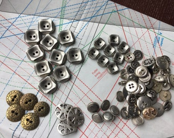 Vintage Metal Buttons Set of 80 Old Buttons