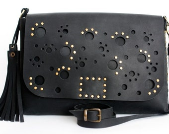 Womens bag/clutch with perforations black Italian leather The Brush