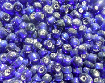 20 gr Blue Seed Beads glass beads Silver Lined Cornflower Blue