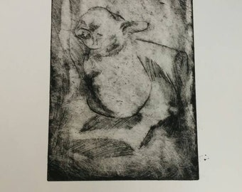 Puppy Dreams - 11x15 inch - copper plate etch - print