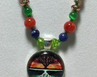 Sunset Reflections Tree of Life Pendant Necklace