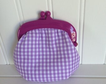 Purple gingham with small polka dot lining coin purse/jelly clip/snap pouch
