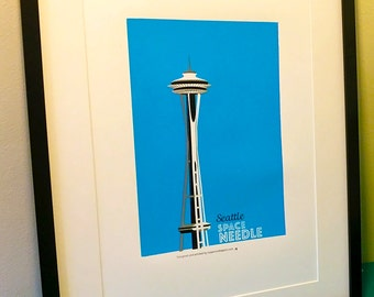 Seattle Space Needle three colour handpulled screenprint