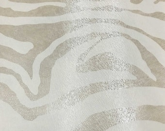 Vinyl Upholstery Fabric - Chester - Pearl - Zebra Animal Print Faux Leather Vinyl Upholstery Fabric by the Yard - Available in 6 Colors
