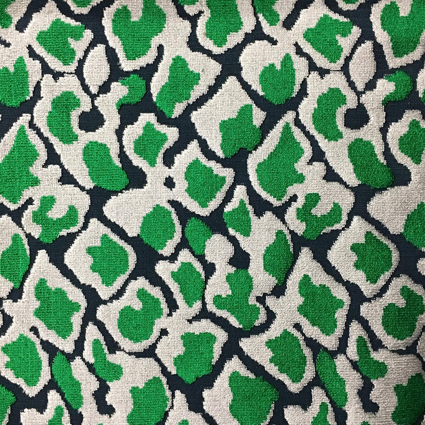 Velvet Upholstery Fabric Hendrix Emerald Leopard Print