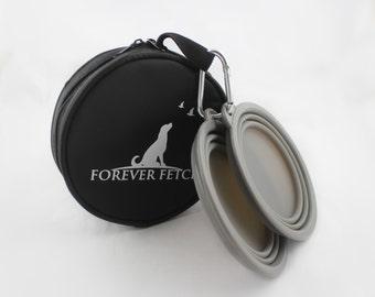 Forever Fetch Travel Pet Bowl Set/Collapsible Bowls Plus (Gray Bowls)