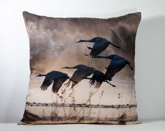 "16""x 16"" Decorative Pillow Cover with Bosque del Apache Flying Sandhill Cranes  Photo Print"