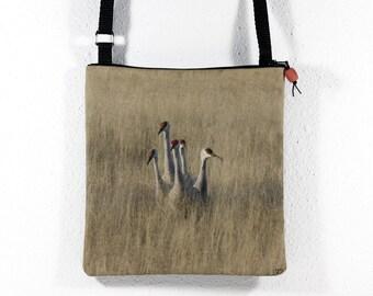 Cotton Purse with Bosque del Apache Five Sandhill Cranes in the Grass Photo Print