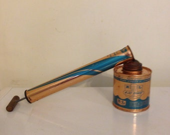 Vintage R•L Copper insect sprayer Root Lowell wooden handle