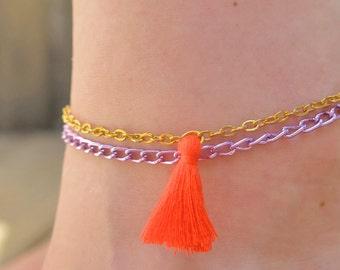 Ankle bracelet - orange Pompom