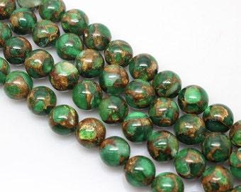 Emerald Green, Golden Pressed Jade, Round  Beads, Jade Beads, 6 8 10 12mm, (OB031)