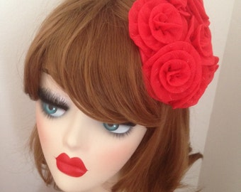Pillbox Hat Fascinator Red Organza Roses Bibi Fifties