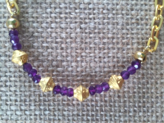 Gold link Bracelet with Amethyst Beads and Gold charms, Lobster Clasp., 22k Gold Plated, 7.5 inches (18.5 cm)