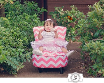 Child Pink and White Chevron Chair Digital Backdrop