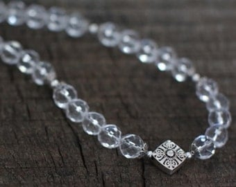 Handmade Natural Crystal Beads,Silver Beads Necklace