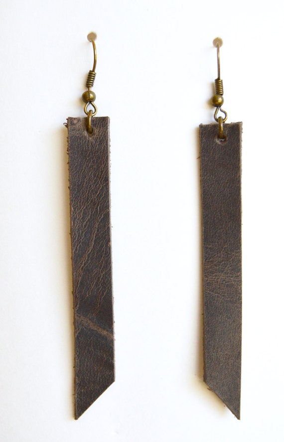 Leather Earrings: Rustic Brown Colored Leather Earrings