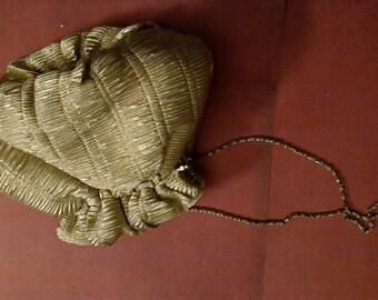 SALE gold chiffon purse clutch vintage 70s