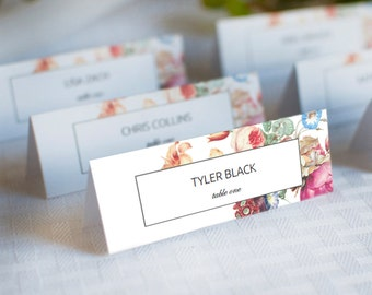 Place Card Template, Floral Wedding Place Cards, Wedding Printable, Wedding Place Cards Number Template, PDF Instant Download