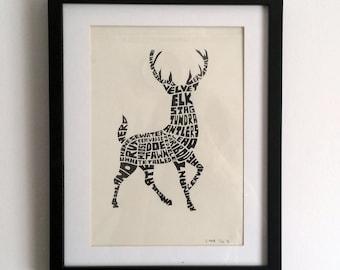 Deer/Stag Calligram Ink Print