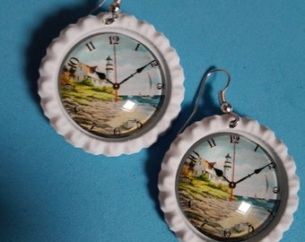 Plugs earrings cabochon lighthouse