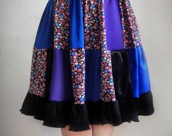 Boho Hippie Patchwork Skirt. Knee-length, Size M, multi color, new